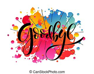 Hand sketched Goodbye lettering typography. Hand sketched...