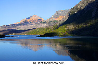 Mountain reflections - Saint Mary lake in Glacier natiional...