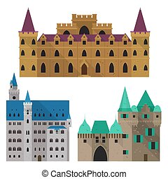 Medieval cartoon castle or citadel, fort front view - Set of...