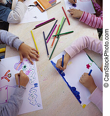 children painting drawing school education