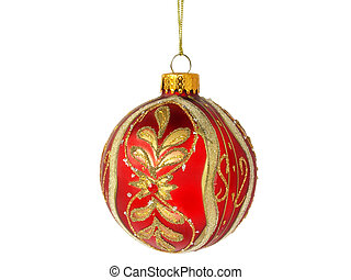 red ball - christmas tree red ball decoration isolated on...