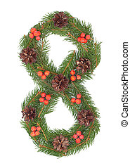 NUMBER 8 - Christmas tree decoration - part of a full set