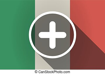 Long shadow Italy flag with a sum sign - Illustration of a...