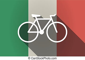 Long shadow  Italy flag with a bicycle