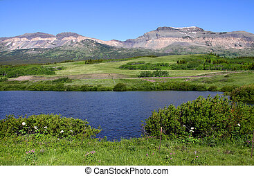 Summer scene - Panoramic view of scenic mountain landscape...
