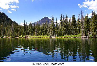 Scenic landscape - Reflections at swift current lake in...