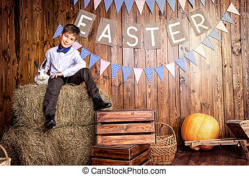 Easter holiday decoration - Easter holidays. Happy child boy...