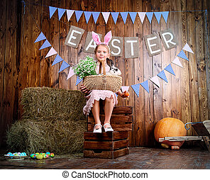 spring Easter holiday - Easter holidays. Happy little child...