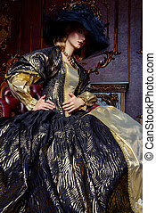 renaissance style dress - Portrait of a beautiful young...