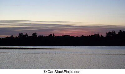 a pink sunrise over the river on forest background