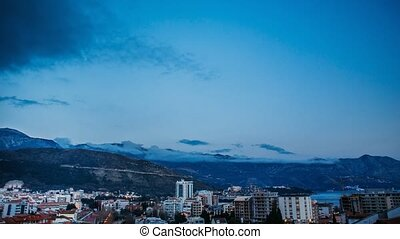 Night Budva, Montenegro. The new town, the view from the...