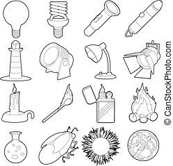 Light source icons set, outline style - Light source icons...