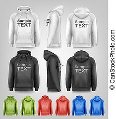 Set of black and white and colorful male hoodies with sample...