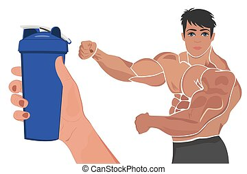 protein shaker and posing bodybuilder, vector illustration