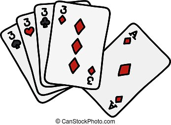 Funny poker cards - Hand drawing of funny poker cards