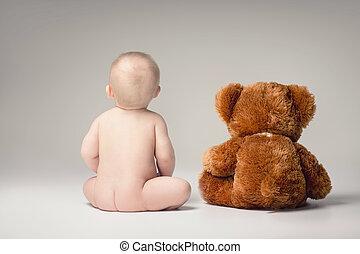 嬰孩, 男孩, 很少, 熊,  Teddy
