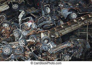 Pile of smashed car wrecks