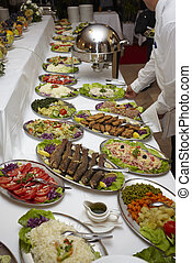 catering food restaurant cuisine - close up buffet table...