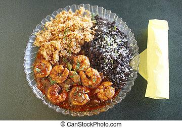 Mexican style shrimp dinner