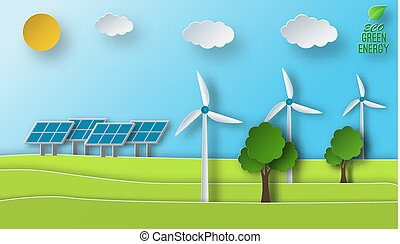Paper art of a solar and wind green energy sources concept. Environment issues.