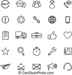 Customer service line icons on white background