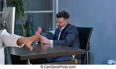Business woman streching her hands in office