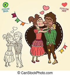 Young peasants in love - Brazilian june party style - Made...