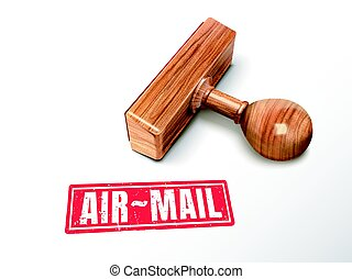 air-mail text and stamp - air-mail red text with lying...