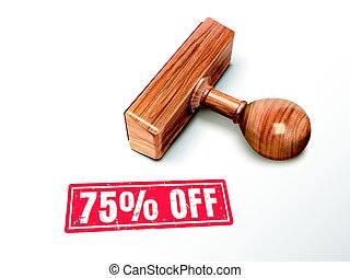 75 percent off text and stamp - 75 percent off red text with...