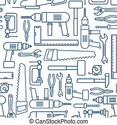 Hardware tool set linear seamless pattern. Vector carpenter...