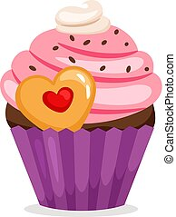 Muffin with pink cream and cookie