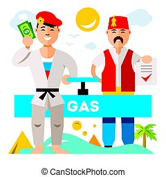 Vector Gas pipeline Russia - Turkey. Flat style colorful...