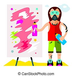 Vector Urban graffiti artist. Flat style colorful Cartoon illustration.