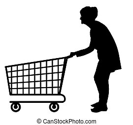 Silhouette of elderly woman pushing empty shopping trolley -...
