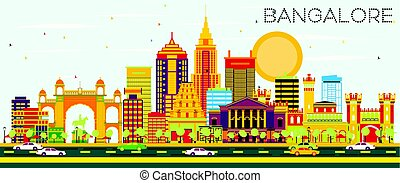 Bangalore Skyline with Color Buildings and Blue Sky. Vector...