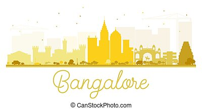 Bangalore City skyline golden silhouette. Vector...