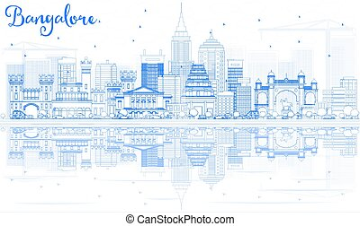 Outline Bangalore Skyline with Blue Buildings and Reflections.