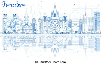Outline Barcelona Skyline with Blue Buildings and Reflections.
