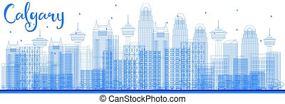 Outline Calgary Skyline with Blue Buildings.