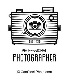 Retro vintage logotype of old camera for professional photographers.