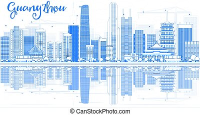 Outline Guangzhou Skyline with Blue Buildings and Reflections.