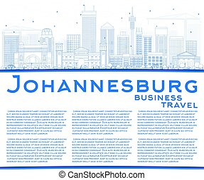 Outline Johannesburg Skyline with Blue Buildings and Copy Space.