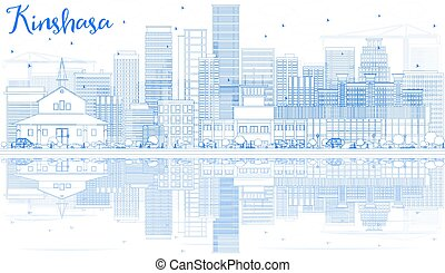 Outline Kinshasa Skyline with Blue Buildings and Reflections.