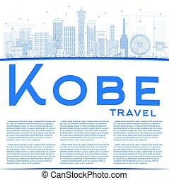 Outline Kobe Skyline with Blue Buildings and Copy Space.