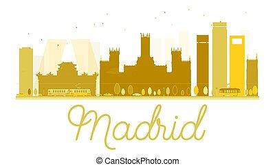 Madrid City skyline golden silhouette.