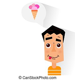 Boy dreaming about ice cream. Vector illustration.