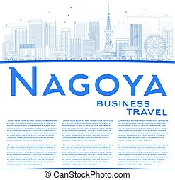 Outline Nagoya Skyline with Blue Buildings and Copy Space.