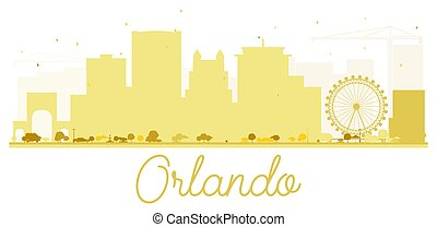 Orlando City skyline golden silhouette.