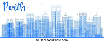 Perth skyline with blue buildings.