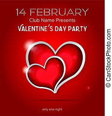 Happy Valentines Day Party Flyer Design Template. Vector...